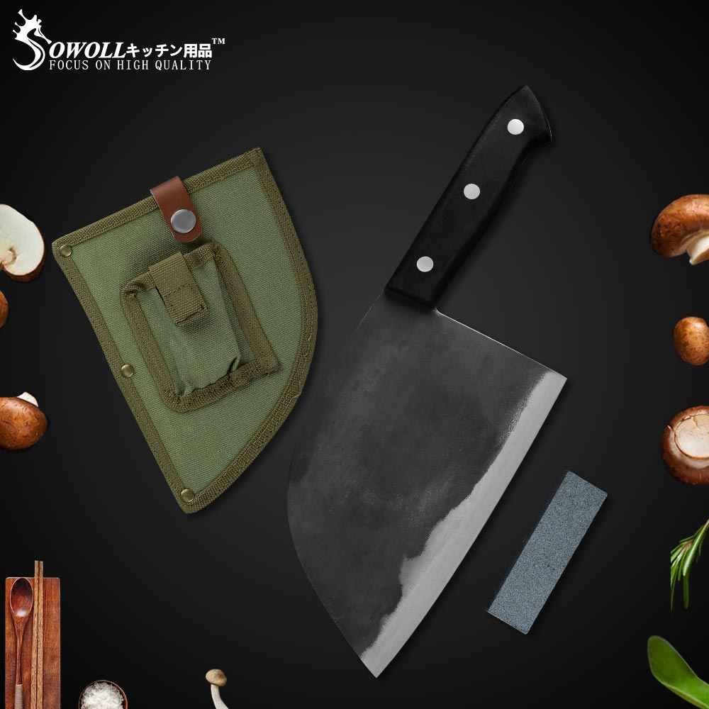 Sowoll Kitchen Knives Forged High Carbon Clad Steel Butcher Knife With Knife Sheath+Mini Knife Sharpener 3 Piece Set Knives Set
