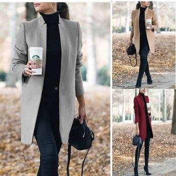 Women Wool Coat 2019 Winter New Casual Korean Autumn Fashion Full Sleeve Plus Size Women Long Coats Elegant Blend Jacket 2020