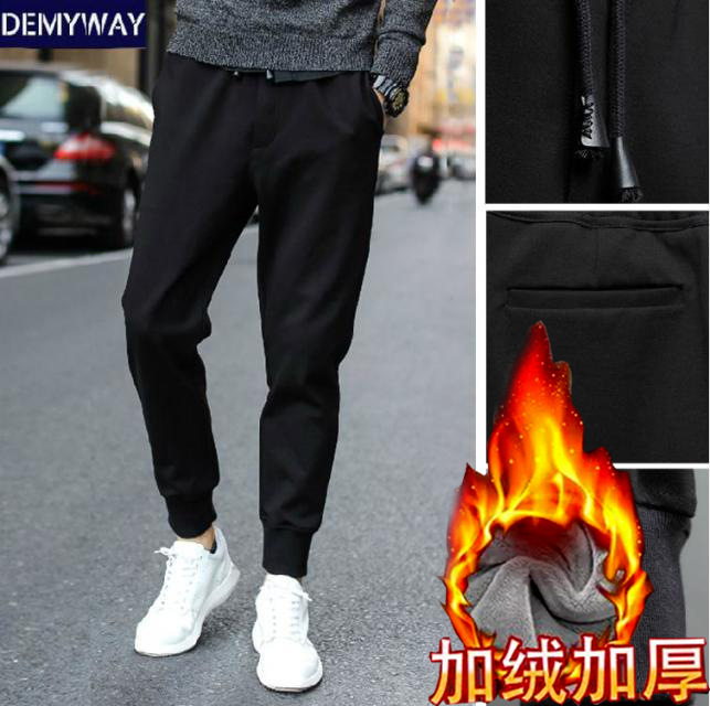 Athletic Pants Men's Autumn And Winter Plus Velvet Casual Pants Medium Waist Trousers Korean-style Slim Fit Elasticity Sweatpant