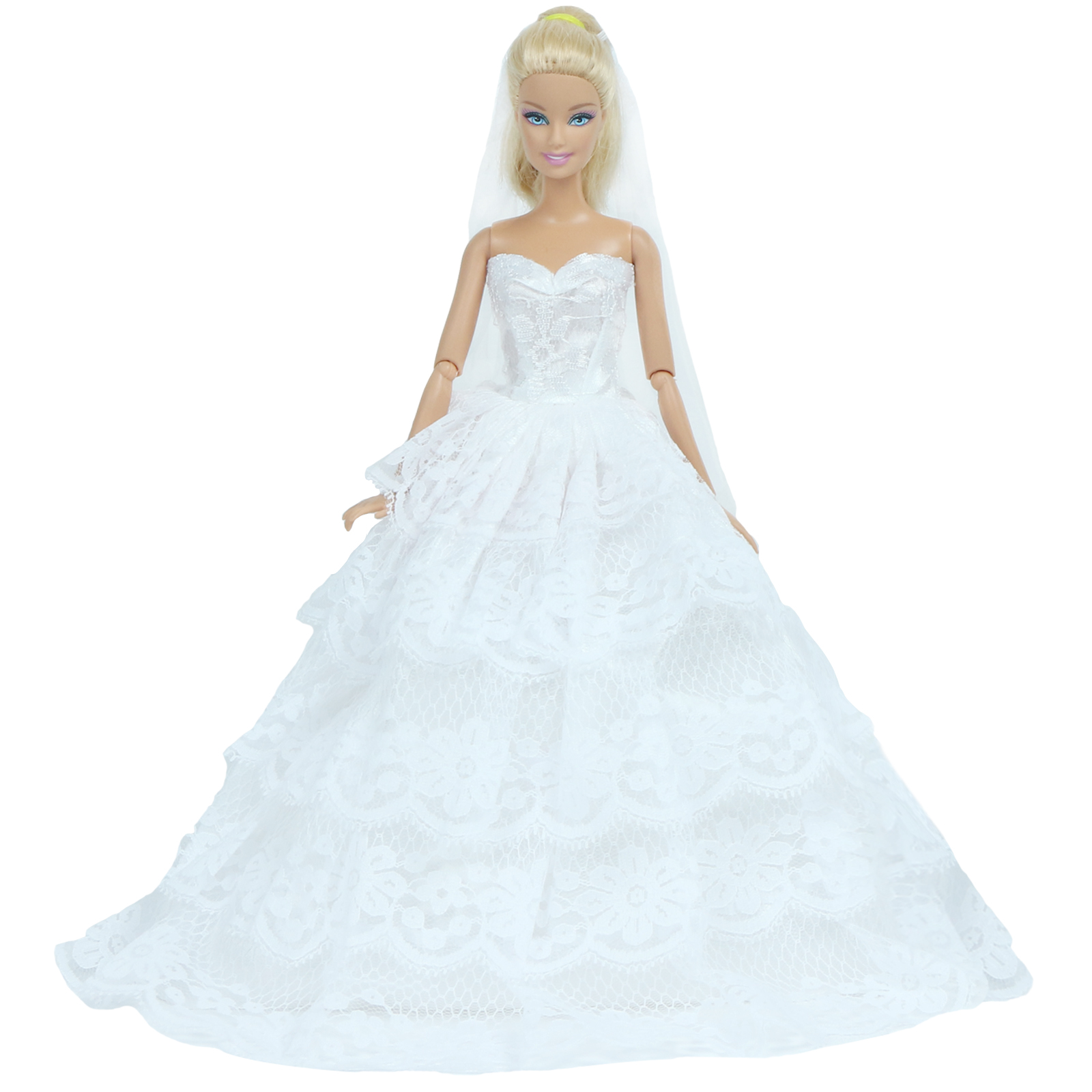 """White Wedding Gown Party Handmade Costumes for Barbie Doll Clothing 12/"""" Dresses"""