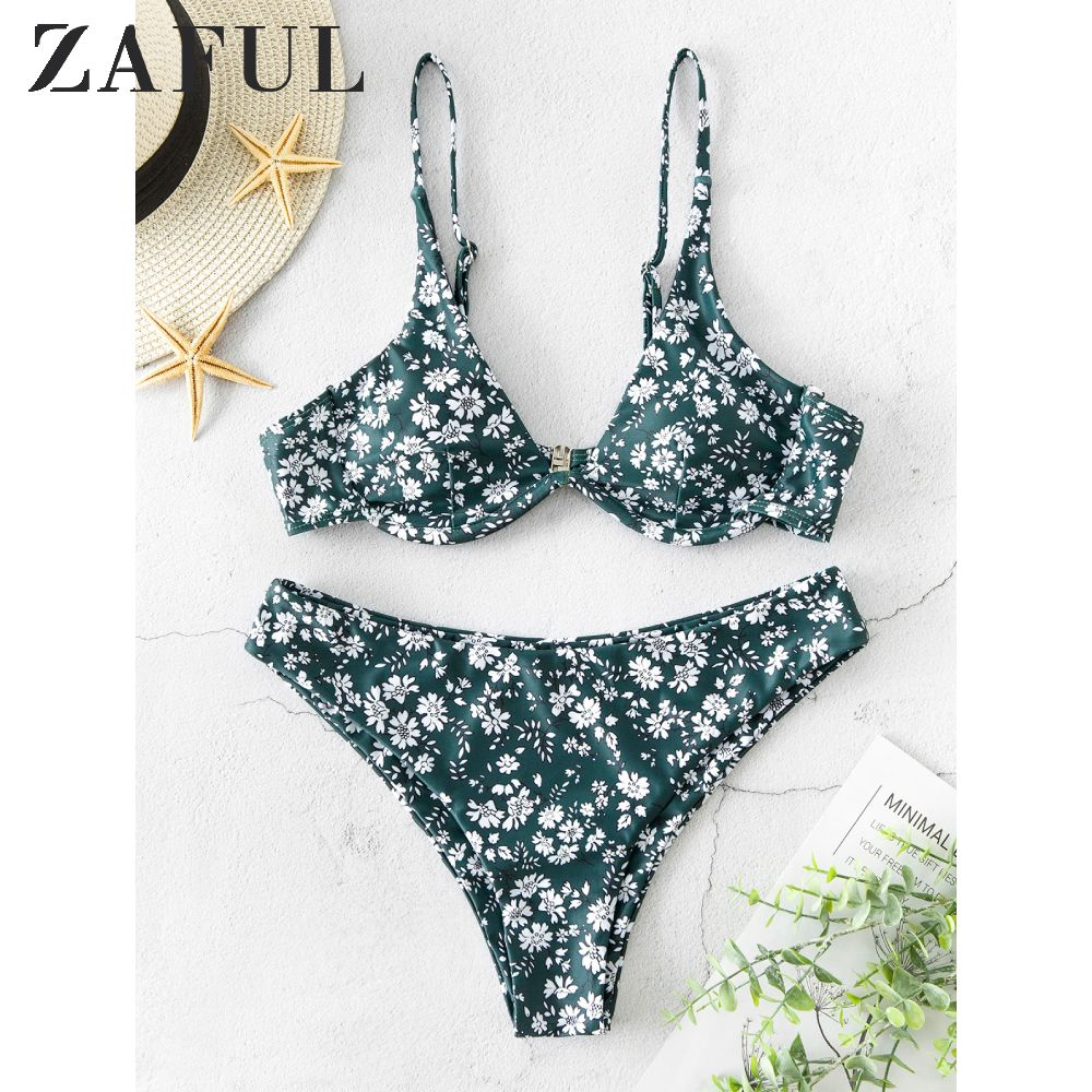 ZAFUL Ditsy Print Underwire Cami Bikini Swimsuit Small Floral Underwire Split High-cut Bikini Multi Co Ord Two Pieces Swimsuit