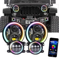 For Jeep Wrangler JK 7 RGB Halo LED Headlight With 4Inch Fog Lights Bluetooth App Controlled Halo Ring Multi Color