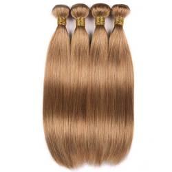 Miel blond cheveux raides paquets 1 3 4 paquets traiter cheveux brésiliens armure faisceaux Remy couleur 27 cheveux humains raides paquets