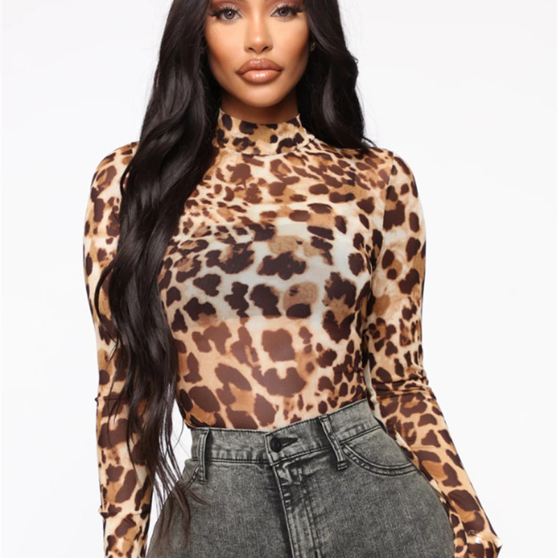 Sheer Mesh Leopard Women Romper Top Bodycon Club Jumpsuit Bodysuit Long Sleeve Perspective Skinny Overall High Neck Outfits 2020