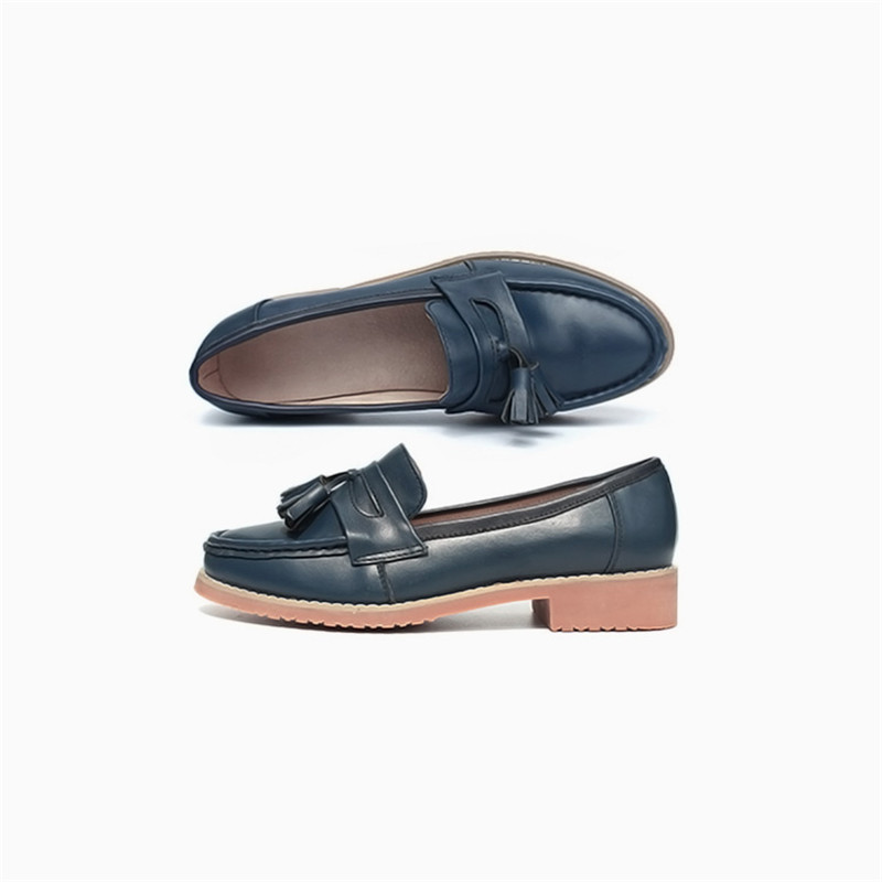 Spring Autumn New Pedal Genuine Leather Loafers Shoes Women British Polished Flat Tassel Oxford Shoes For Woman Large Size 32-43 (54)