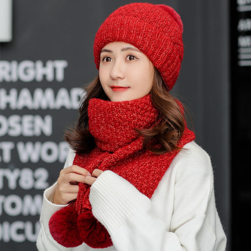 HT2789 Hat Scarf Set Thick Warm Winter Accessories Ladies Solid Knitted Hat Scarf Female Fur Pompoms Beanie Hat Scarf Winter Set