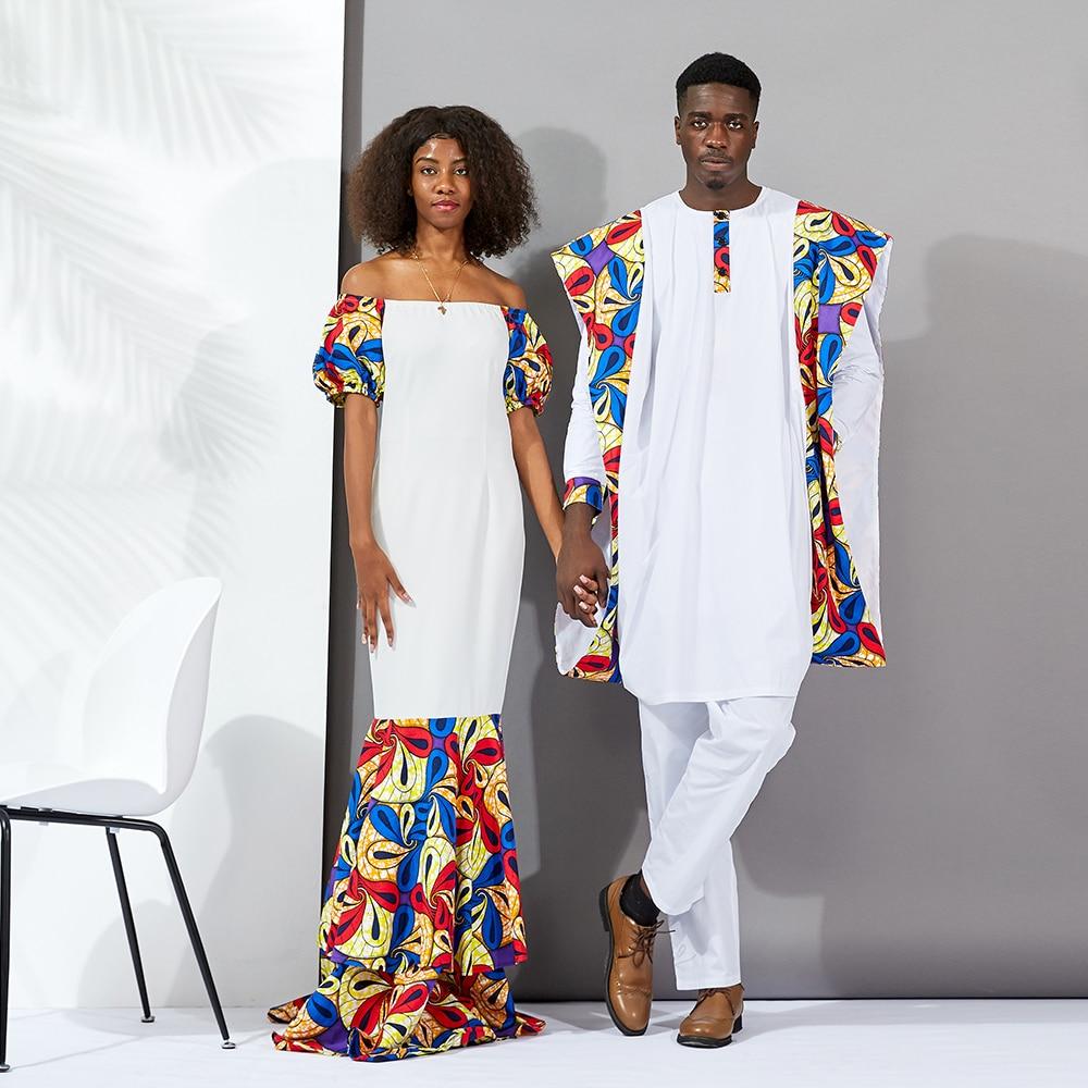 Vestidos africanos para as mulheres Casais longas roupas novo estilo 2019 Moda Cera Ancara Impressão material de algodão roupas masculinas tradicionais