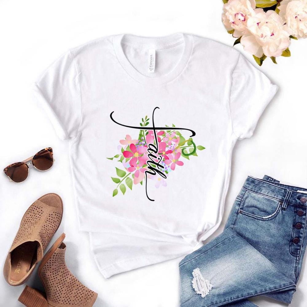 Faith Floral Flower Women Tshirt Cotton Casual Funny T Shirt Gift For Lady Yong Girl Top Tee PM-18