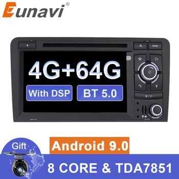Eunavi 4G 64G DSP 2 din Android 9 car gps dvd For Audi A3 S3 2003-2013 radio multimedia player navigation Autoradio 1024*600 image