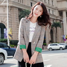 High quality plaid suit jacket female 2019 Autumn Single Breasted Long Sleeve Blazer Casual business office suit Elegant top недорого