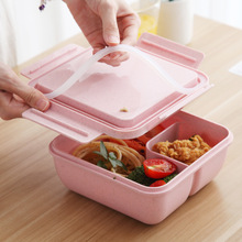 Wheat Straw Lunch Box Japanese-style Container Sealed with Spoon Chopsticks Microwave Type Lunch Box dihe wheat straw skid resistance lengthen stewed noodles chopsticks