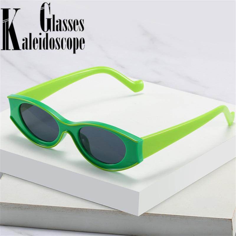 Petites lunettes de soleil ovales femmes personnalité marque design Vintage lunettes de soleil pour hommes drôle vert blanc lunettes noires nuances UV400