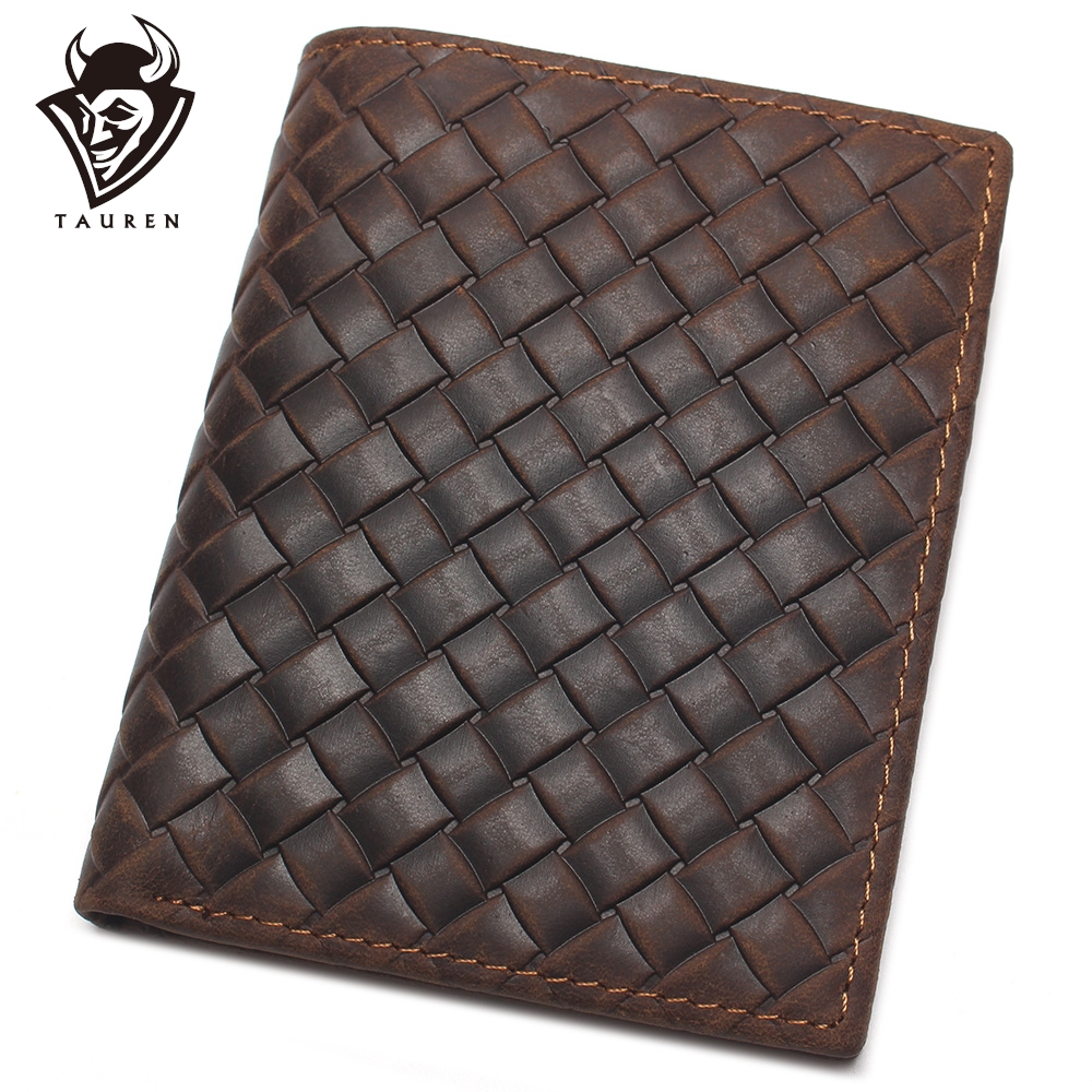 Billfold Genuine Leather Wallet Credit Card Crazy Horse Men Woven Pattern Men's Stylish And Fashionable Leather Coin Purse