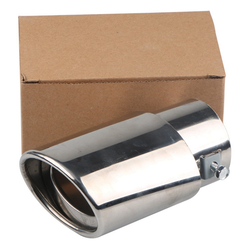 Car Universal Round Silver Stainless Steel Exhaust Tail Muffler Tip Pipe 63mm