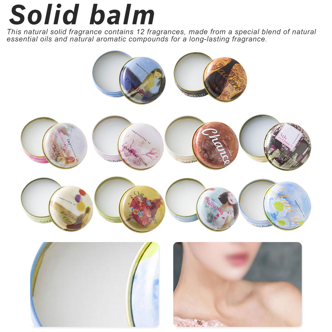 1PCS 15g Solid Perfume For Men Women Floral Portable Round Box Solid Perfume Body Fragrance Skin Care Essential Oil