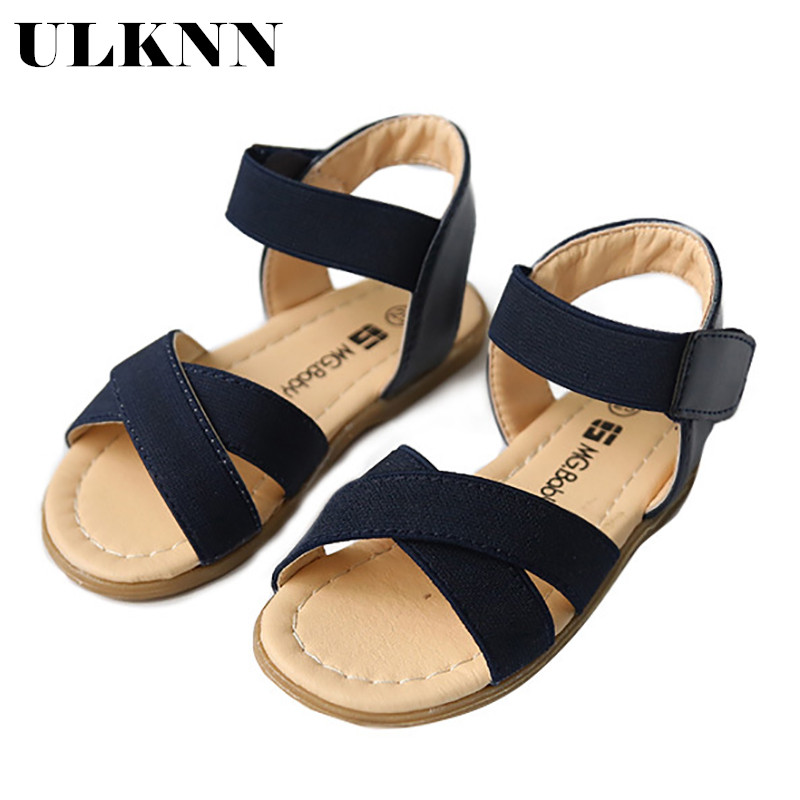 ULKNN Children's Sandals 2020 Summer New Open-toed Sandals Girls Elastic Band Korean Flat Shoes In Rome Children