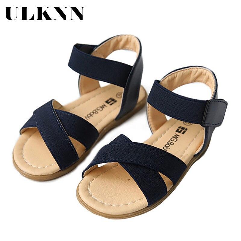 ULKNN Children's Sandals 2020 Summer New Open-toed Sandals Girls Elastic Band Korean Flat Shoes In Rome Children