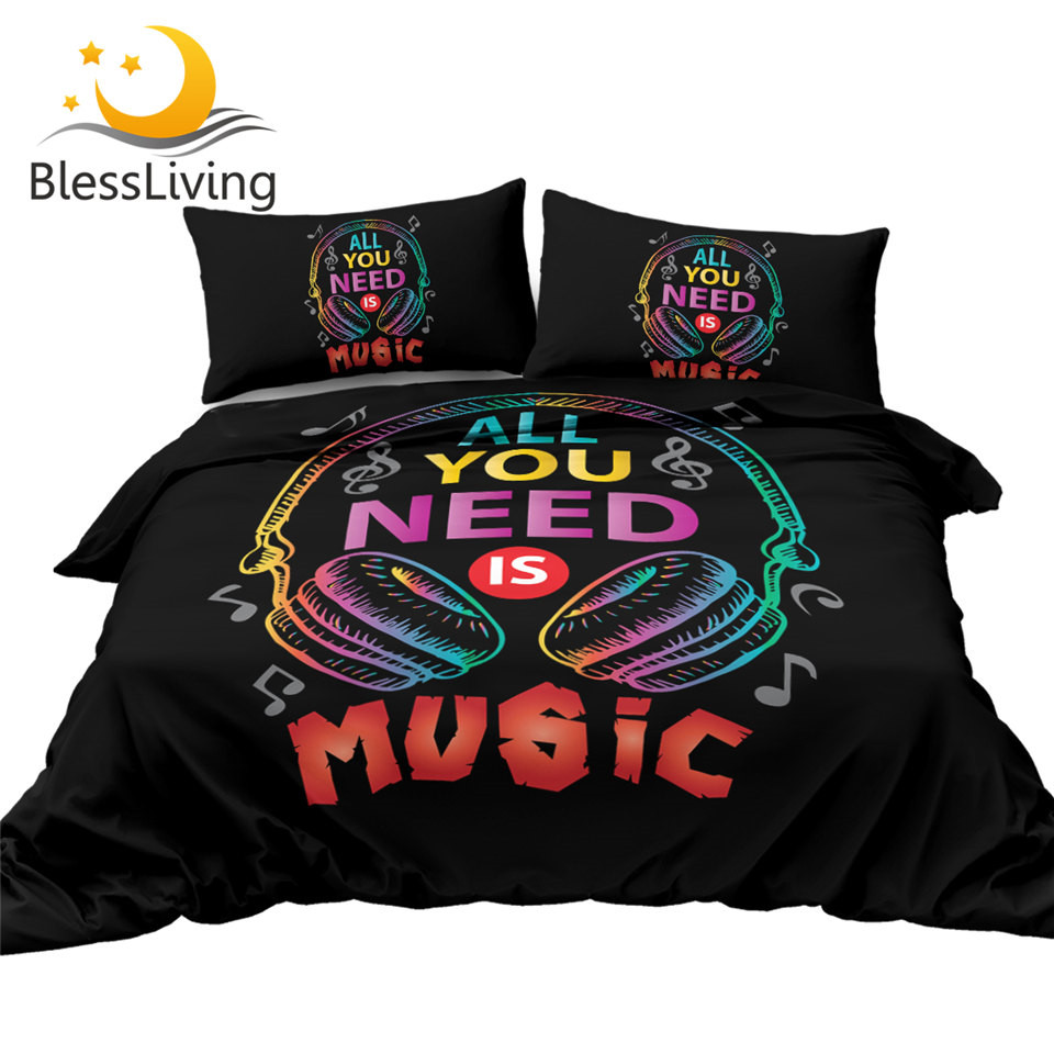 BlessLiving Headphone Bedding Set Musical Comforter Cover All You Need Is Music Bedspreads Colorful Fashion Bed Set Queen 3pcs