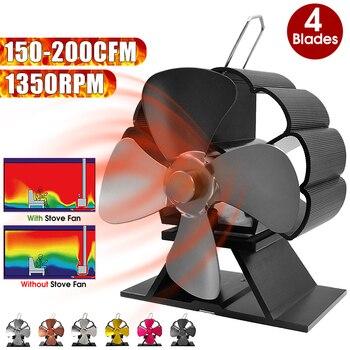 Mini Black Stove Fan Effecient 4 Heat Blade  Fireplace Fan Powered  Log Wood Burner Ecofan Quiet Fan Home Heat Distribution