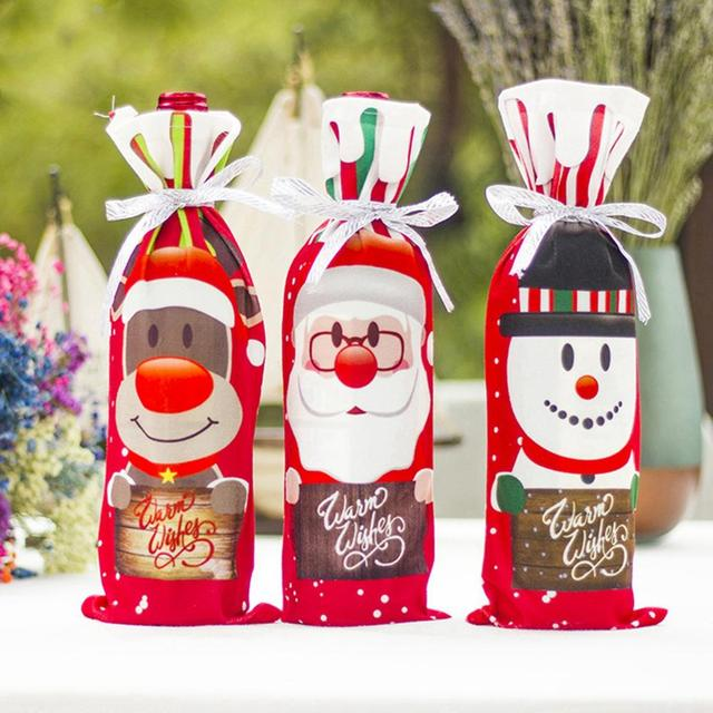 FENGRISE Santa Claus Wine Bottle Cover Christmas Decorations For Home 2019 Christmas Stocking Gift Navidad New Year's Decor 2020 3