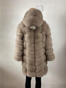 BEIZIRU Real Fox Fur have hat Coat detachable   Women Natural Real Fur Jackets Vest Winter Outerwear Women Clothes