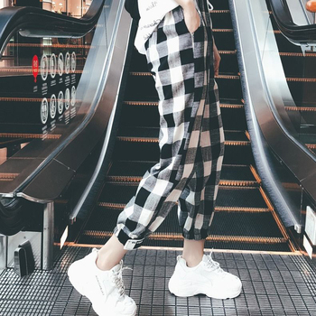 Hot 2020 New Fashion Women Casual Pants Clothes Print Plaid Female Straight Loose Spring Clothing