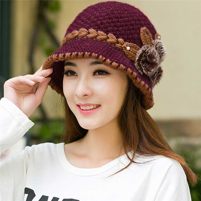 2019 Women Winter Warm Casual Caps Female Beautiful Wool Crochet Knitted Flowers Decorated Ears Hats Gorros Mujer Invierno N13