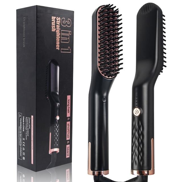 3 in 1 Multifunctional Hair Comb Brush Beard Straightener Hair Straighten Straightening Comb Hair Curler Quick Hair Styler 5