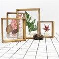 Двухсторонняя стеклянная деревянная фоторамка, двухсторонняя акриловая рамка для образцов, креативный набор для домашнего рабочего места