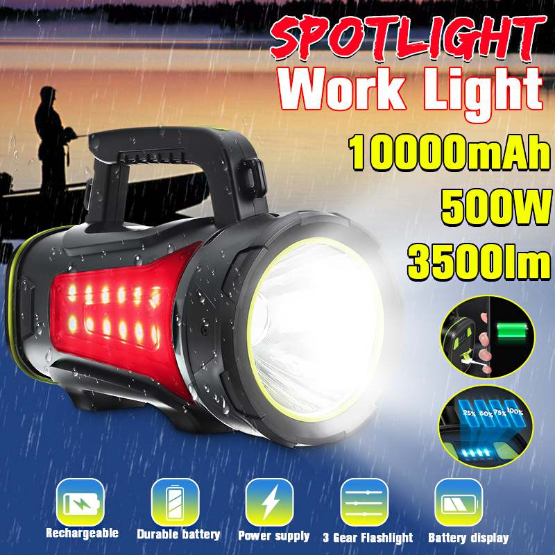 200/300/500W Handheld Spotlight Portable USB Built-in Rechargeable LED Searchlight Lantern Flashlight Waterproof Spot lamp