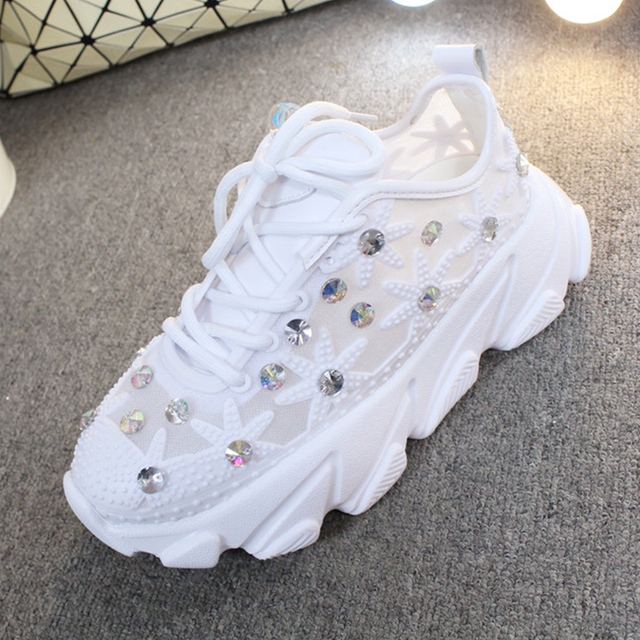 Rhinestone Wedge Sneakers Women Trainers Dames Chunky Sneaker Platform 2020 White Sneaker Casual Shoes Woman chaussures femme 4