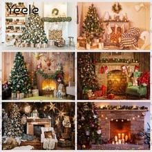 Yeele feliz natal árvore presente lareira bebê criança retrato foto fundos fotografia pano de fundo para um estúdio de fotos