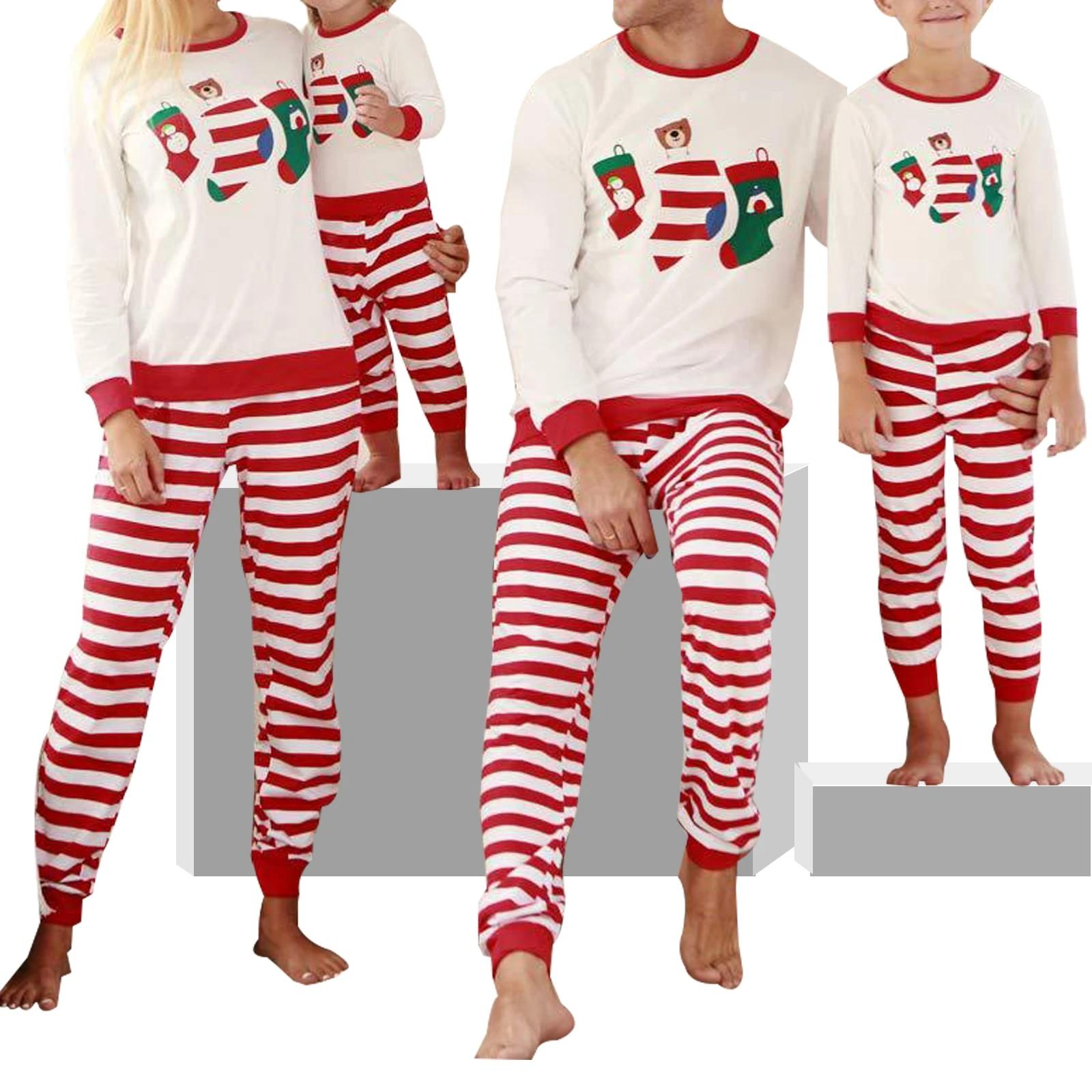 Christmas Xmas Family Matching Set Pajamas Nightwear Kid Adult Striped Sleepwear
