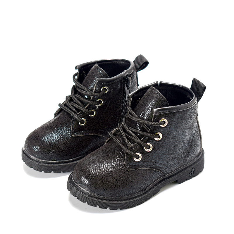 2019 Autumn/Winter Plush Children Boots Boys Girls Martin Shoes Fashion Brand Zipper Soft Leather Warm Kids Boots