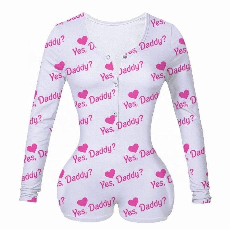 Sexy Women Onesie Underwear Bodysuit Long Sleeve Button Deep V Neck Bodycon Stretch Leotard Short Romper Pajamas Overalls