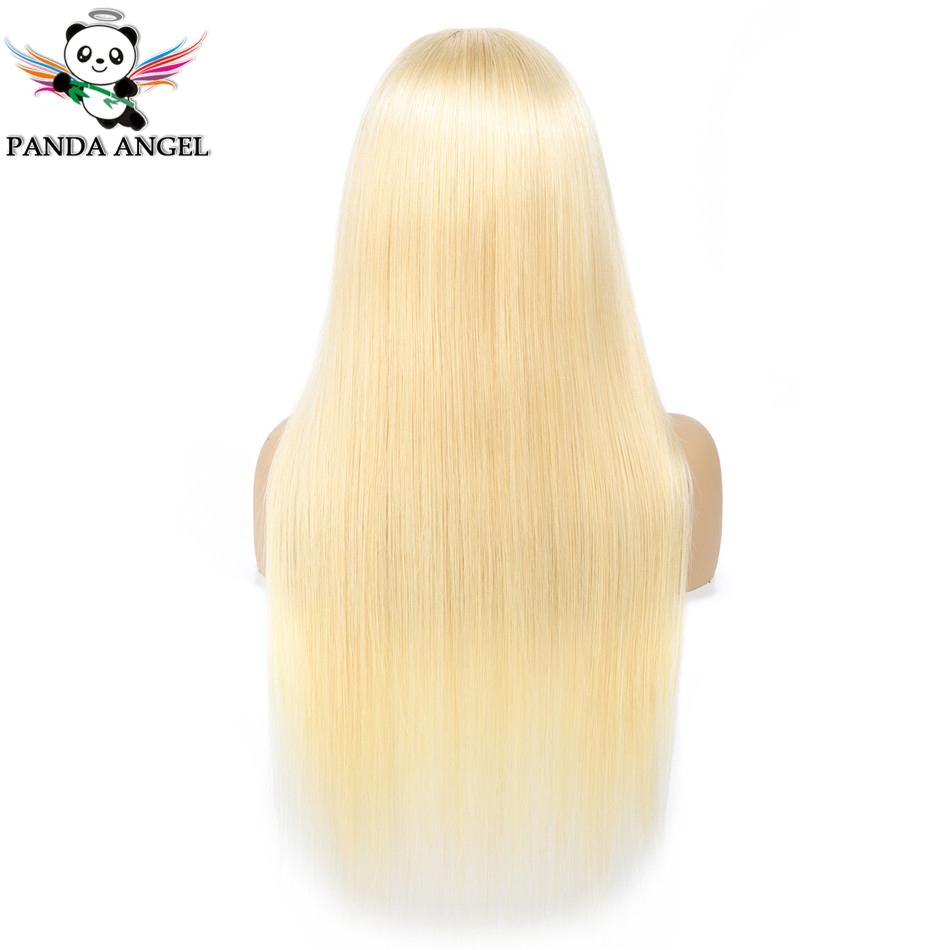 Image 2 - Panda #613 Blonde Lace Frontal Human Hair Wigs Brazilian Straight 13*4 Lace Frontal Wig Pre Plucked Honey Blonde Remy Lace Wigs-in Lace Front Wigs from Hair Extensions & Wigs