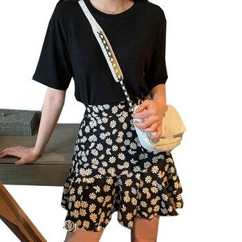 Fashion Summer Women Beach Boho Sexy Mini Skirts High Waist Ruffled Floral Print Female Short Casual Ladies A-Line Skirt