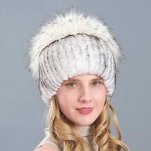 Женская меховая шапка на зиму из натурального кролика рекс меха