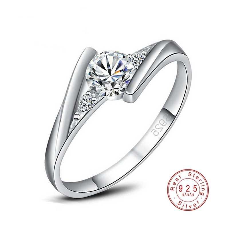 2019 חדש אופנה 925 סטרלינג כסף קלאסי גדול קריסטל טבעת לנשים אירוסין חתונה AAA CZ זירקון פשוט טבעות תכשיטים