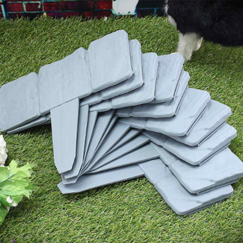 LBER 12Pc Grey Garden Fence Edging Cobbled Stone Effect Plastic Lawn Edging Plant Border Decorations Flower Bed Border