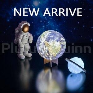 Image 2 - 2019 NUOVO Dropship Ricaricabile 3D Stampa Saturn Lampada Come Luna di Notte Della Lampada Della Luce Per La luce della Luna con 2 Colori 16 colori Remote Regali