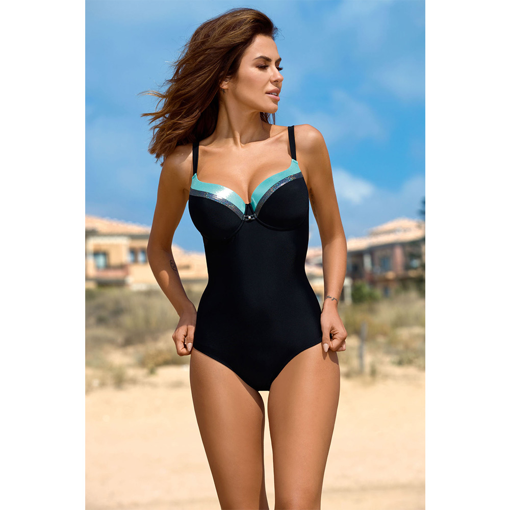 ESSV 2019 One Piece Retro Push Up Swimsuit Patchwork Bodysuit Plus Size Swimwear Women Sexy Padded Summer Bathing Suit Beachwear-1