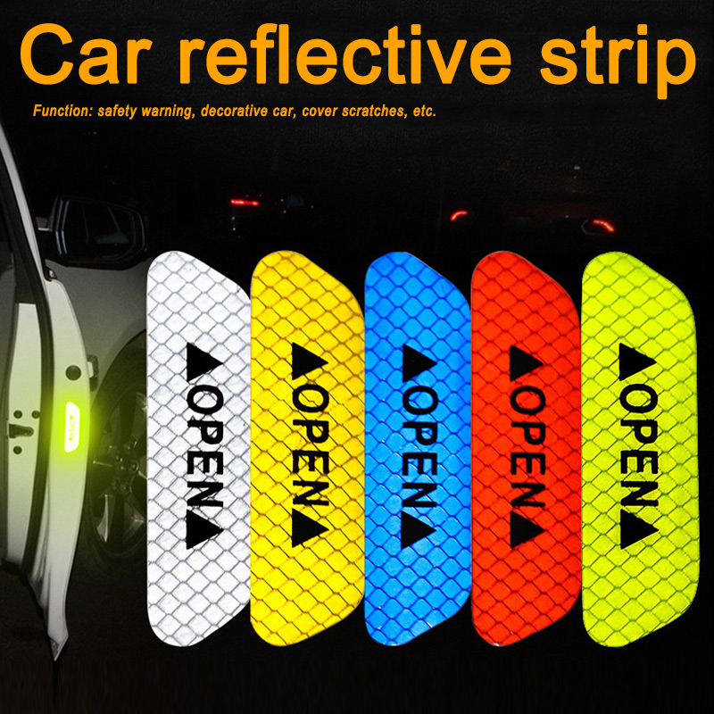 Newly Car Reflective Strips Sticker Warning Tape Night Open Door Sign Decal Anti-Collision Mark
