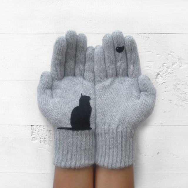 Cartoon Cat Knitted Gloves Women Winter Warm Outdoor Riding Thicken Printed Cold Proof Imitation Cashmere Pure Color Soft Gloves 5