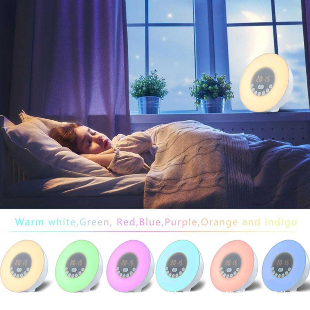 光目覚まし時計シミュレーションデジタル時計 FM ラジオワイヤレス Bluetooth スピーカーベッドサイドランプ EU プラグ