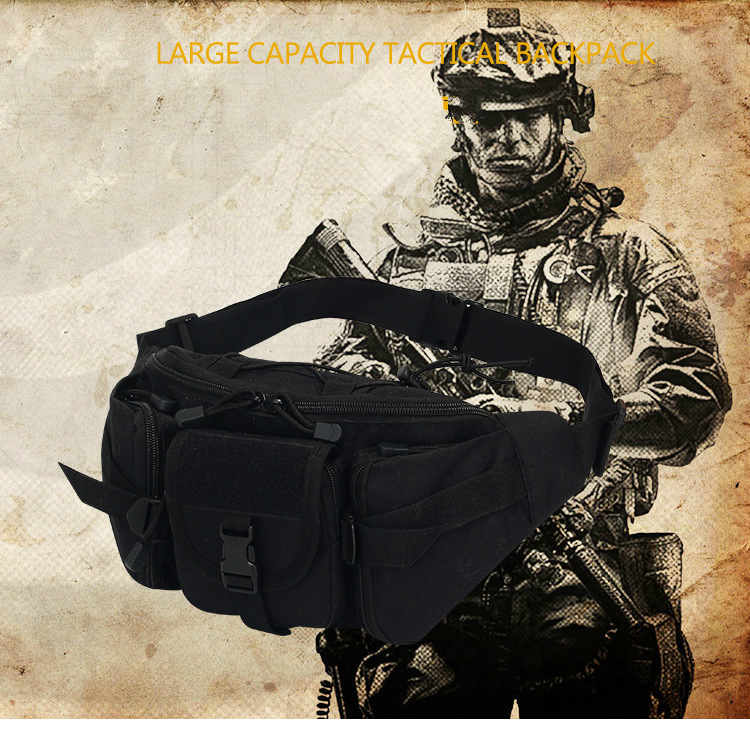 Men's Khaki Waist Pack Tactical Water Bottle Belt Fanny Pack Waist Bag Bum Pouch Hiking Camping Outdoor Shoulder Bag Handbag