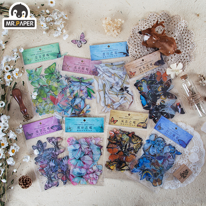 Mr.paper 8 Designs 40Pcs/lot Butterfly Deco Stickers Scrapbooking Bullet Journal Toy Plants Deco Album DIY Stationery Stickers 1