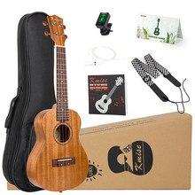 Kmise Ukulele Concert Soprano Tenor комплекты из красного дерева 21/23/26 дюймов Гавайские гитары для начинающих + чехол с ремешком для сумки и тюнера