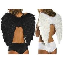 Asas de anjo para fotos, asas de anjo para fotos, adereço, asas pretas, show de palco, traje de festa de casamento e aniversário, decorações