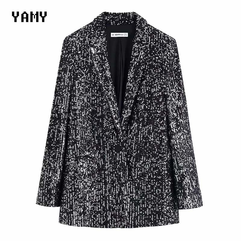 Womens Sequined Blazers Suit Long Sleeve Blingbling Notched Casual Jacket Coat Fashion Female Zora Sequined Jacket Coat 2020